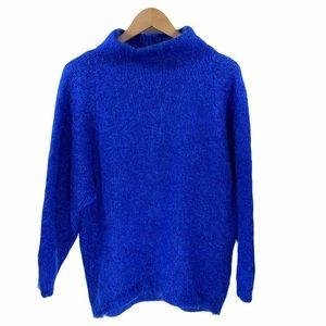 VTG Mohair Mock Neck Sweater Royal Blue Pullover